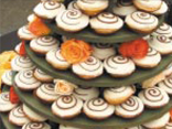 When the budget is smaller make the wedding cake with flowers and muffins./