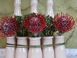 Recycle bottles with 3 different floral design lessons and styles.
