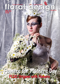 Flowers for Mothers Day and paper with flowers