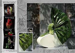 step by step flower arranging lessons for an innovative French design using Aspidistra, a huge design  using bark strips, a new way to jazz up Strelitzia leaves, floral gifts which look like small cakes, BBQ table arrangements and care bunches using waste plant material.